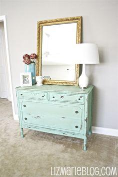 short dresser/large mirror/lamp/vase combo for the white dresser in the living room