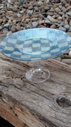 Iridescent Blue Green and Baby Blue Checkerboard 4 Tall Cake Stand Treat Pedestal