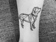 First ink ❤ | geometric | dog | labrador | tattoo | ankle