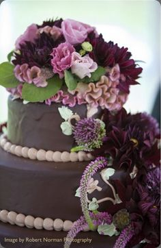 love the purple and brown color palette on this chocolate wedding cake… drumstick allium, scabiosa pods, and cockscomb