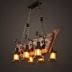 386.18$ Watch here - http://aliank.worldwells.pw/go.php?t=32746025479 - Factory Outlet Retro Industrial Pendant Lamp 6 head Old Boat Wood Light American Country style Edison Bulb Free Shipping 386.18$