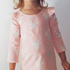 GIRLS FLUTTER SLEEVE LONG SLEEVE MAXI DRESS - PINK DEER (Baby girls, toddler girls, little girls & big girls). 2 COLOR OPTIONS