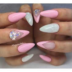 White And Pink Almond Nails by MargaritasNailz