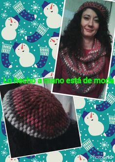 Boina u bufanda infinita tejida en crochet con lana acrílica, pura lana, y angora