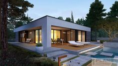EX 21 soft - projekt domu - Archipelag Modern Small House Design, Minimalist House Design, Modern Bungalow House, Bungalow House Plans, White Exterior Houses, Dream House Exterior, Modern Residential Architecture, Model House Plan, Prefabricated Houses