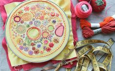 Sunshine embroidery sampler to embroider yourself. In a series of printed samplers to embroider, this is hand drawn and printed on cotton. It arrives ready to stitch! (Please note that this item is Embroidery Sampler, Cross Stitch Embroidery, Embroidery Patterns, Hand Embroidery, Modern Embroidery, Embroidery Hoops, Easy Stitch, Cross Stitch Supplies, Cotton Quilting Fabric