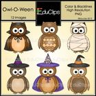 As shown, five owls wearing Halloween hats or costumes and one plain owl. Color and blacklines are included in this download. Images saved at 300dp...