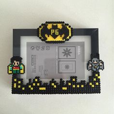 Batman and Robin photo frame hama perler beads by ikasuyanto Hama Beads Design, Diy Perler Beads, Perler Bead Art, Pearler Bead Patterns, Perler Patterns, Christmas Perler Beads, Beading For Kids, Peler Beads, Beads Pictures