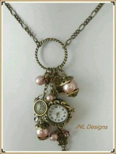 How To Keep Your Old Jewelry Looking Like New Romantic Vintage Looking Watch Charm Necklace Vintage Jewelry Crafts, Recycled Jewelry, Old Jewelry, Pandora Jewelry, Jewelry Art, Antique Jewelry, Beaded Jewelry, Jewelery, Handmade Jewelry