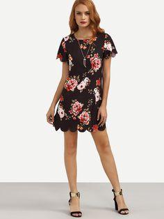 Shop Multicolor Floral Print Scallop Trim Shift Dress online. SheIn offers Multicolor Floral Print Scallop Trim Shift Dress & more to fit your fashionable needs.