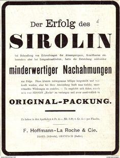 Original-Werbung/ Anzeige 1907 - SIROLIN / HOFFMANN LAROCHE BASEL - Ca. 130 X 170 Mm - Werbung