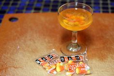 A candy corn cocktail for Halloween