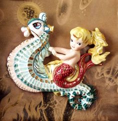 OOAK Vintage Lefton Mermaid on SeaHorse Handmade Shadowbox