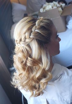 Bridesmaid wedding hair hairstyle half up braided braid style