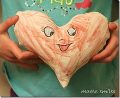These heart-shaped stuffies are easy to sew and make wonderful gifts! My college-age sister keeps the one my kids made her on her bed in her dorm room! Color the heart with washable markers and your kids can decorate it over and over again! A wonderful Valentine's Day craft for kids.