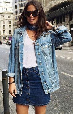 Pair Your Denim Jacket With a Denim Skirt