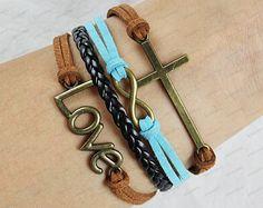cross infinite braclets-blue rope white leather bracelets personalized bracelets -best gift present N075. $6.99, via Etsy.