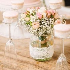 Look at the champagne glasses turned upside down for cupcake stands! See this entire #shabby #vintage #1stbirthday #party on #KarasPartyIdeas.com today (link in profile)! Styled by I Do Parties out of Dubai!