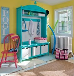Bethany Beach Arched Locker - This fun and whimsical locker is a great addition to a mud room, kid's playroom, or beach house! Locker is the perfect place to hang. Cabana, Aqua Blue, Pool House Decor, Pool Houses, Beach Houses, Tropical Decor, Tropical Design, Beach Design, Nursery Themes
