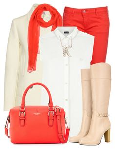 """Matching Scarf, Bag & Colored Jeans"" by katyusha-kis ❤ liked on Polyvore"