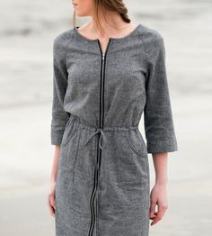 Grey Hemp Zip Front Dress by National Picnic Clothing on Scoutmob Shoppe. Sweet hemp and organic cotton chambray dress. #dress