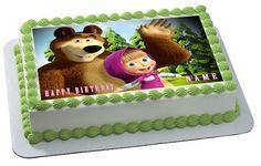 Masha and the Bear 1 Edible Birthday Cake Topper OR Cupcake Topper, Decor