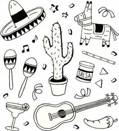 drawings of Cactus with Sombrero and maracas - Google Search Doodle Pages e7b2291ee24