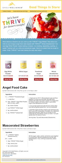 Shelf Reliance - Angel food cake, When there is an emergency I want cake. :}