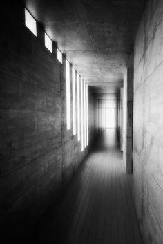 View of the corridor inside Tadao Ando's Koshino House.
