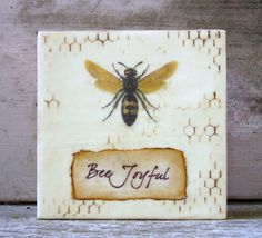 Bee Joyful Encaustic Painting by KissedByABee on Etsy, $35.00