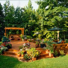 Open, Freestanding Deck Avoid claustrophobia on your deck and stay free of railings. Define the space by building benches around the edges while leaving the other sides open into the yard. Outdoor Rooms, Outdoor Gardens, Outdoor Living, Outdoor Decor, Freestanding Deck, Platform Deck, Pergola Patio, Backyard Landscaping, Pergola Kits