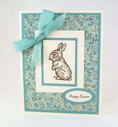 Hand Stamped Easter Card - Vintage Inspired Blue and Floral with Chocolate Bunny