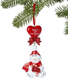 Babys First Ornament. FREE PERSONALIZATION. FAST SHIPPING Snowman. Candy Cane Baby Red. happy new year. 2011 2012 Gift.