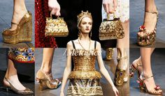 FW2014 Accessories: The Must Haves - Dolce&Gabbana Fall Winter 2014 Accessory Trends Metallic Wedges, Pumps, Sandals, Dolce Bag Clutches and Bags, Corset