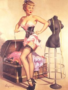 Pin up 50s - Girl making a corset