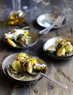 Baked Brussels Sprouts with Shaved Parmesan and Lemon.