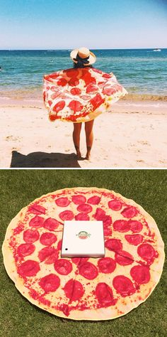 How cool is this pepperoni pizza towel?