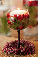 A wine glass +  cranberries + pine twigs + floating candle = easy peasy centerpiece!