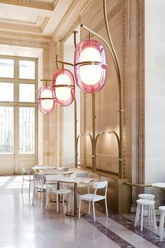 <p>French designer Mathieu Lehanneur just installed these gorgeous 4.5-meter high lamps at the Louvre's Café Mollien in Paris for their new makeover. The venue has reopened after a month of work and f