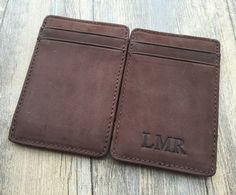 Magic wallet,Initial magic card holder,business card cases,handmade,Genuine leather wallet,Christmas gifts for him,unique gifts,Groomsman by OnlyOneGift on Etsy
