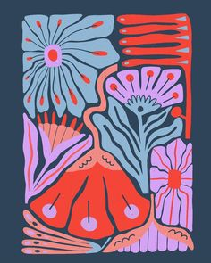 Abstract flower illustrations for an artsy poster design with organic shapes and floral pattern. Motif Floral, Digital Illustration, Art Inspo, Pattern Art, Surface Pattern Design, Cool Art, Art Drawings, Art Photography, Abstract Art