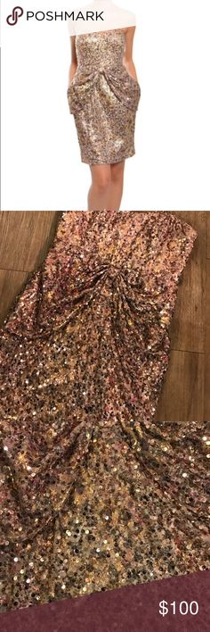 Gorgeous designer sequin holiday  dress This dress is gorgeous !! Pictures don't do justice! Great for the holidays. Comes with straps however u can remove. Worn once . Cleaned and perfect condition.. Badgley Mischka Dresses Mini