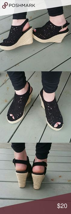 Bucco Capensis Wedges Black cut out Bucco Capensis macrame wedges. Gd tone side buckle. Worn once, very little wear on soles. Bucco Shoes Wedges