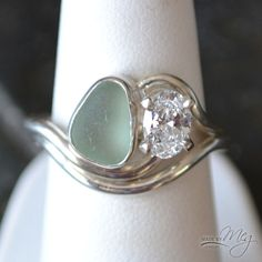 The Adriatic #7 - Sea Glass Engagement Ring #seaglassrings