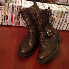 Brown short boots Good condition!! Shoes Lace Up Boots