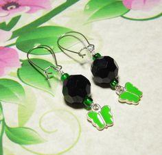 Handmade Black With Green Enamed Butterfly Charms Beaded #Earrings #Handmade #Fashion #Jewelry