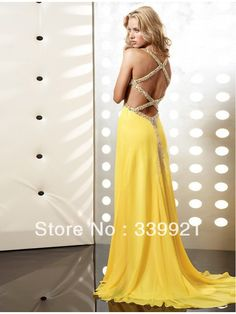 Fancy Beading Halter V-neck Side Cut Out Open Back Empire Yellow Chiffon Long Prom Dress Sexy Party Gowns 2014 New Arrival US $108.00