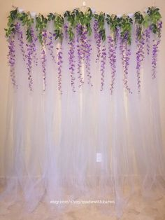Tulle Backdrop Curtain Photo Booth with Hanging Wisteria Flo.- Tulle Backdrop Curtain Photo Booth with Hanging Wisteria Flowers Tulle Backdrop Curtain Photo Booth with Hanging Wisteria Tulle Backdrop, Diy Photo Backdrop, Diy Wedding Backdrop, Photo Backdrops, Backdrop Ideas, Birthday Backdrop, Purple Wedding, Our Wedding, Wedding Flowers