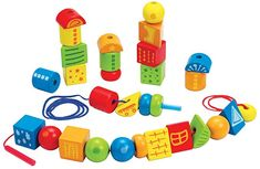 $17.99, Hape String Along Shapes Wooden Block Toddler Lacing Toy