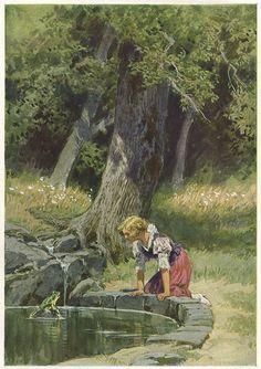 """""""Der Froschkönig"""" - Illustration zu Grimms Märchen von Professor Paul Hey, Maler, Grafiker und Illustrator (19.10.1867 in München - 14.10.1952 Gauting)"""